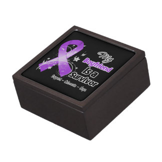 My Boyfriend is a Survivor Purple Ribbon Premium Keepsake Box