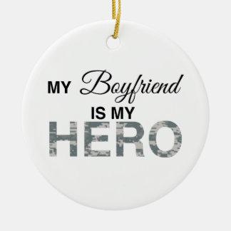 My Boyfriend is my Hero Digital Camouflage Double-Sided Ceramic Round Christmas Ornament