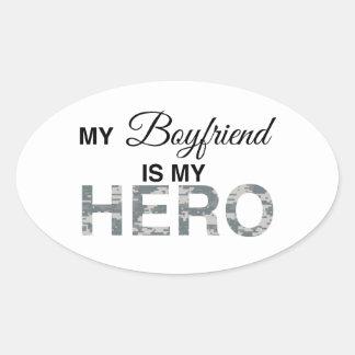 My Boyfriend is my Hero Digital Camouflage Oval Sticker