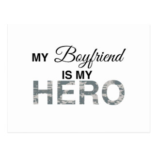 My Boyfriend is my Hero Digital Camouflage Postcard