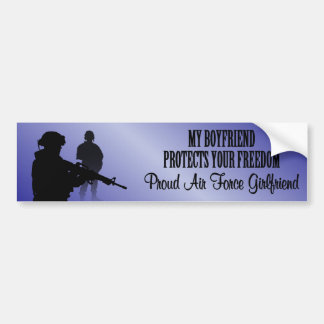 My Boyfriend Protects Your Freedom (Air Force Girl Bumper Sticker