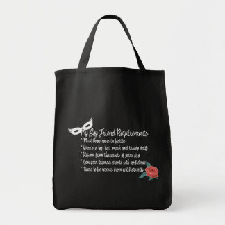 My Boyfriend Requirments Tote Bags