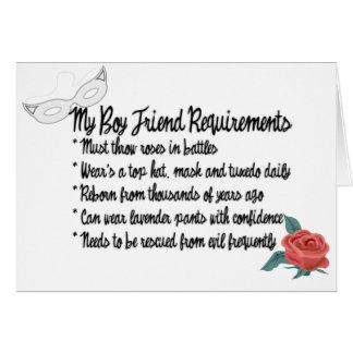 My Boyfriend Requirments Card