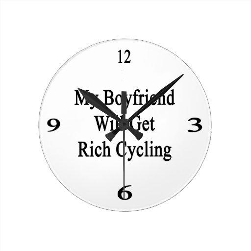 My Boyfriend Will Get Rich Cycling Round Wall Clock