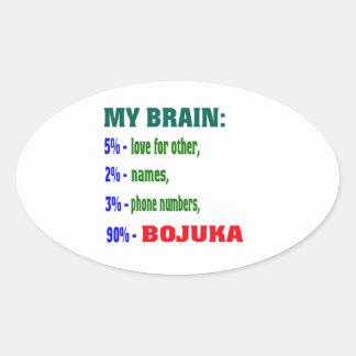 My Brain 90 % Bojuka. Oval Sticker