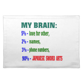 My Brain 90 % Japanese Sword Arts Cloth Place Mat