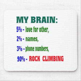 My Brain 90 % Rock Climbing. Mouse Pads