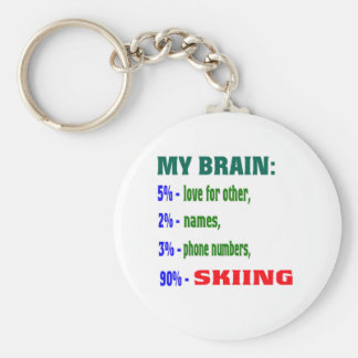 My Brain 90 % Skiing. Key Chain