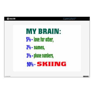 "My Brain 90 % Skiing. 15"" Laptop Decal"
