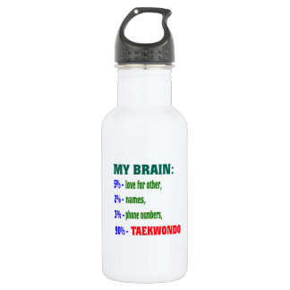My Brain 90 % Taekwondo. 18oz Water Bottle