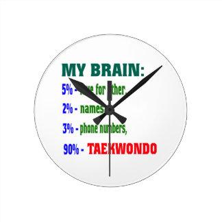 My Brain 90 % Taekwondo. Round Wallclock