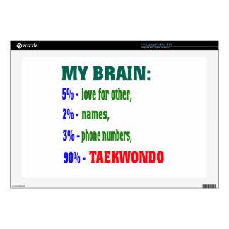 """My Brain 90 % Taekwondo. 17"""" Laptop Skins"""