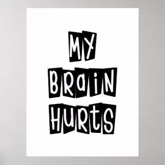 My Brain Hurts Black and White Poster