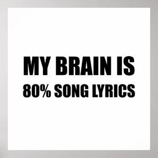 My Brain Is 80 Percent Song Lyrics Poster