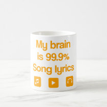 music, funny, lovers music, humor, 99.9 percent, love music, cool, cute, icons, song, orange, fun, love, mug, Caneca com design gráfico personalizado