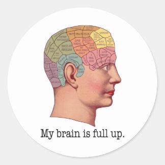 My Brain is Full Up Classic Round Sticker