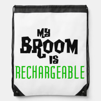 My Broom is Rechargeable Drawstring Backpack