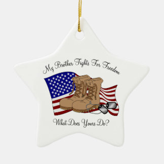 My Brother Fights For Freedom Double-Sided Star Ceramic Christmas Ornament