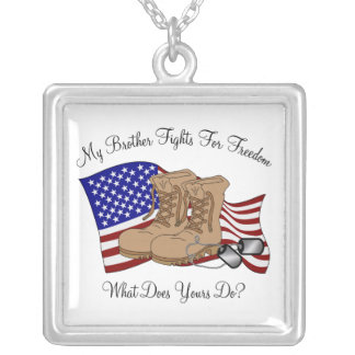 My Brother Fights For Freedom Square Pendant Necklace