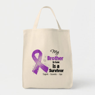 My Brother-in-Law is a Survivor Purple Ribbon Canvas Bag