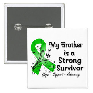 My Brother is a Strong Survivor Green Ribbon 2 Inch Square Button