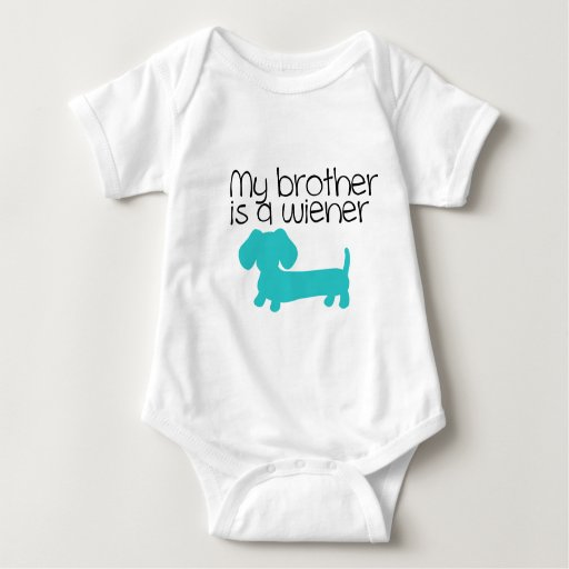 My Brother is a Wiener (blue dog puppy) Tee Shirt