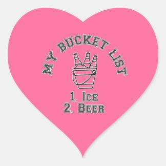 My Bucket List Humor - Ice & Beer Heart Sticker