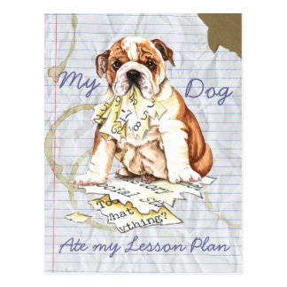 My Bulldog Ate My Lesson Plan Post Card