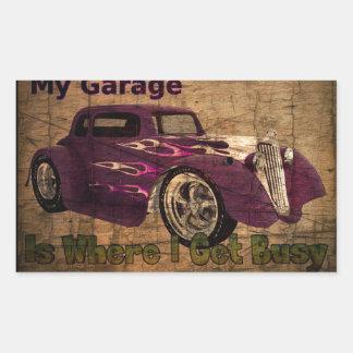 My Busy Garage Rectangular Sticker