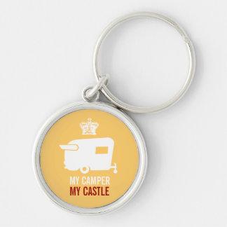 My Camper My Castle - Vintage Shasta Camper Silver-Colored Round Keychain