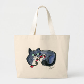 My candy cane, says tuxedo cat [cat holiday 21] tote bags