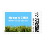My car is green, or this bumper sticker is postage