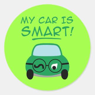 My Car Is Smart Round Sticker