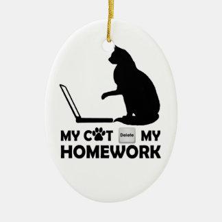 My cat deleted my homework ceramic ornament