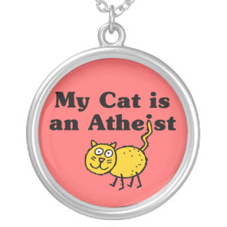 My Cat Is An Atheist Round Pendant Necklace
