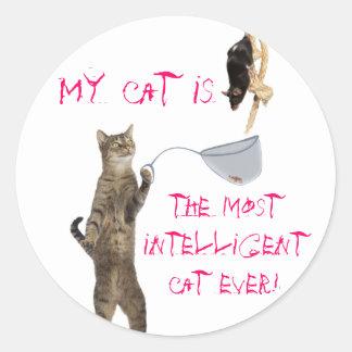 My cat is... classic round sticker