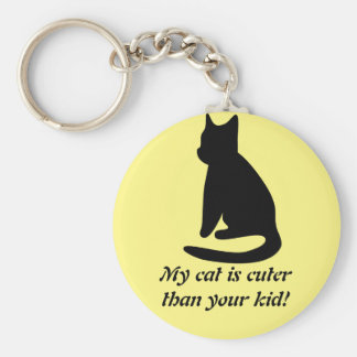 My Cat Is Cuter Basic Button Keychain