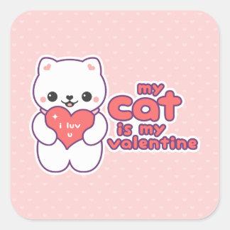 My Cat is my Valentine Square Sticker