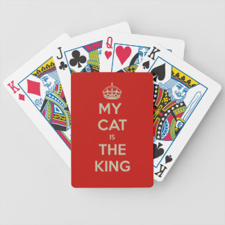 My Cat Is The King - Red Background Bicycle Playing Cards