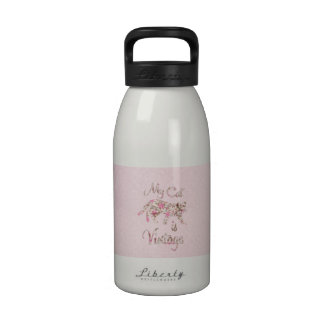 My Cat Is Vintage Retro Pink Floral Damask Reusable Water Bottles