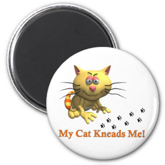 My Cat Kneads Me 2 Inch Round Magnet