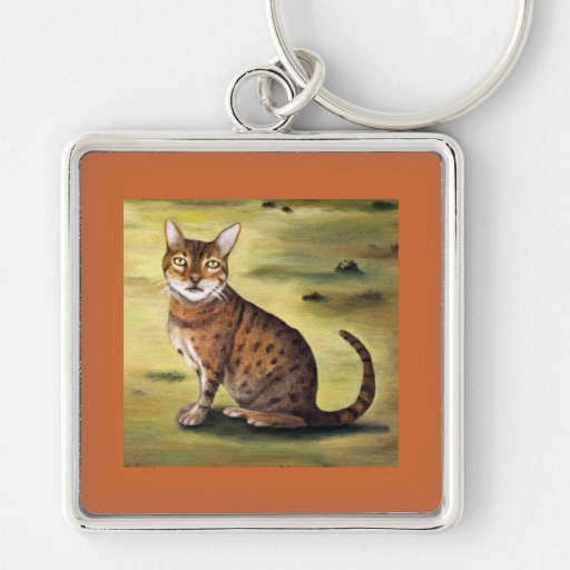My Cat Silver-Colored Square Keychain