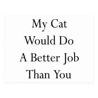 My Cat Would Do A Better Job Than You Postcard