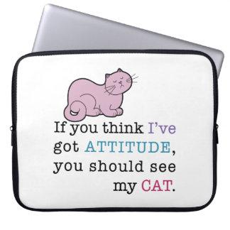 My Cat's Attitude Funny Cat Laptop Sleeve