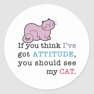 My Cat's Attitude Funny Cat Round Stickers
