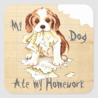 My Cavalier Ate My Homework Square Sticker