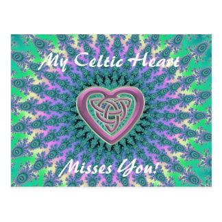 My Celtic Heart Misses You Fractal Mandala Postcard