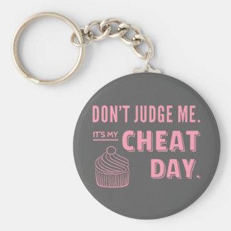 My Cheat Day Pink Cupcake Diet Humor Basic Round Button Keychain