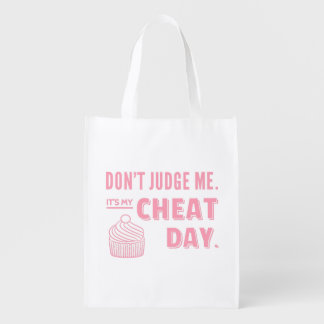 My Cheat Day Pink Cupcake Diet Humor Reusable Grocery Bag