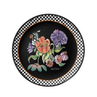 """""""My Checkered Garden"""" black rimmed porcelain plate"""